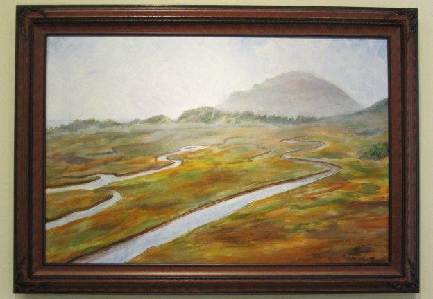 "Franczeska Angel's acrylic painting ""Estuary/Morro Bay Fog"""