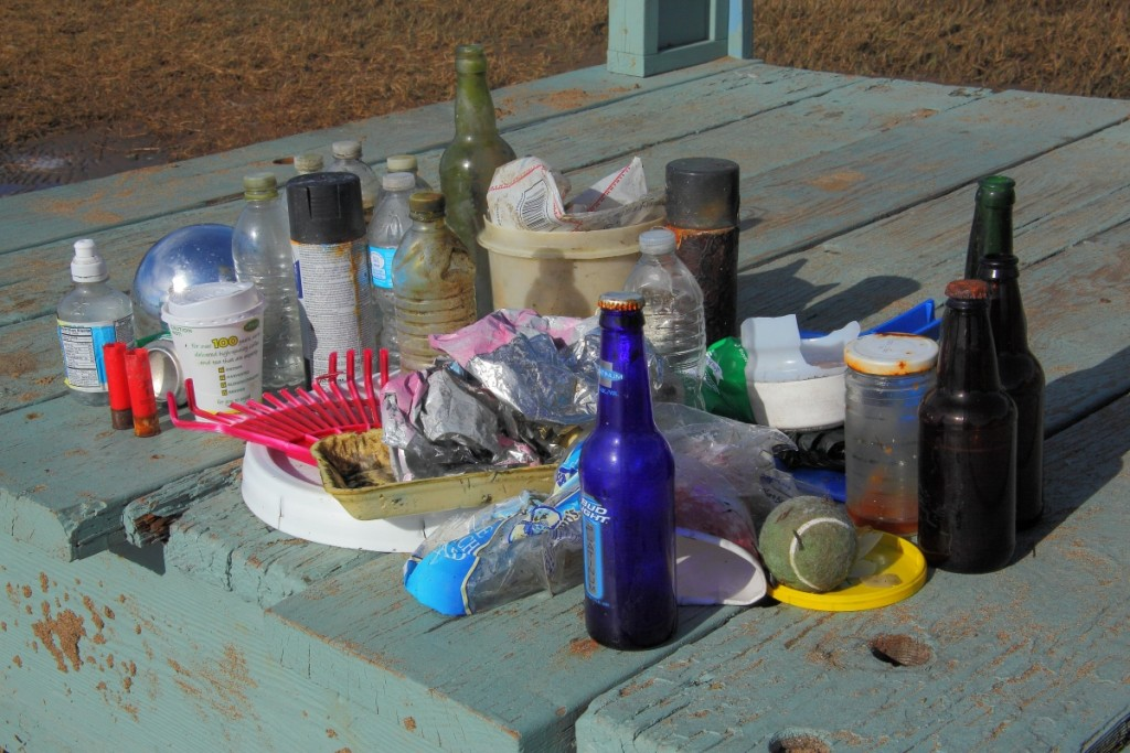 Trash collected by one local paddler in a single trip around the Morro Bay estuary