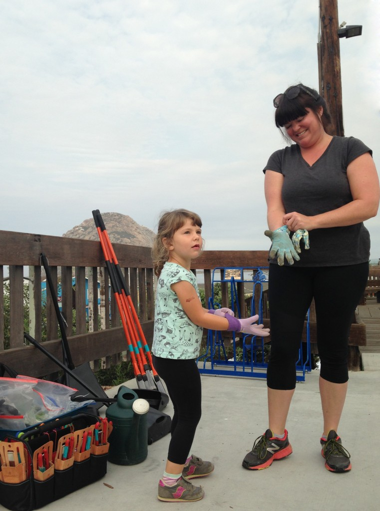 Megan and her daughter came to volunteer with Morro Bay in Bloom for the second time. Megan says she picked Morro Bay in Bloom because it's a kid-friendly volunteer opportunity that gets them outside.