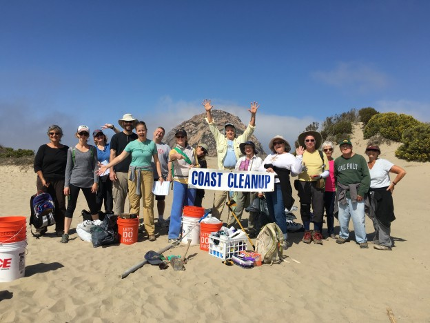 The whole crew celebrates their work and Coastal Cleanup Day.