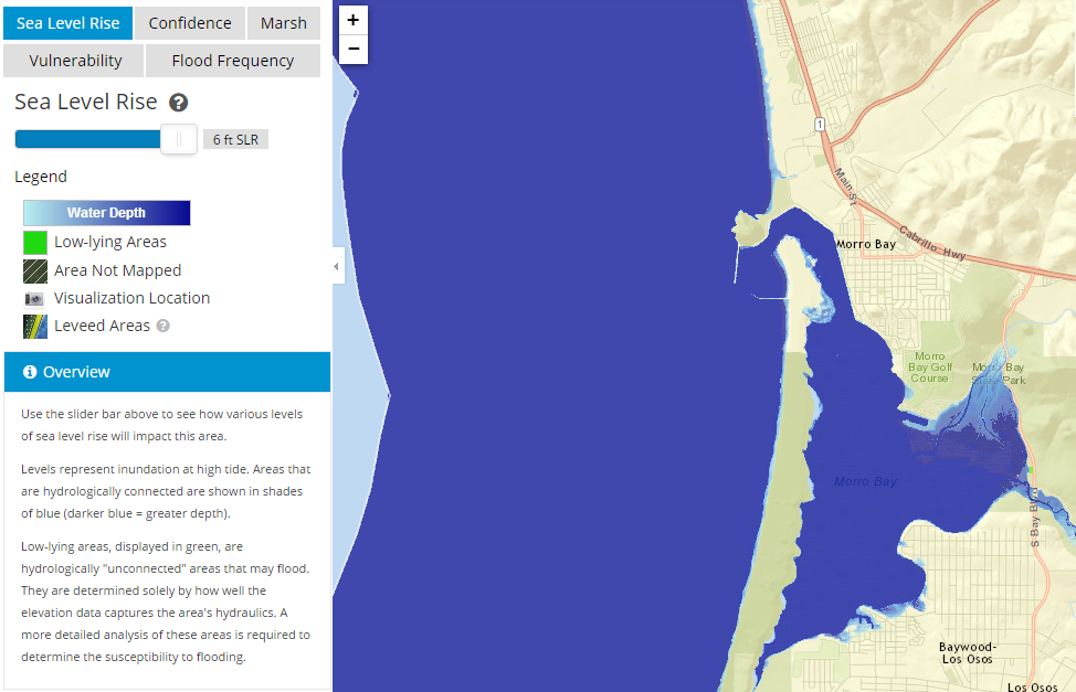 This map shows Morro Bay at high tide with a sea level rise of 6 feet.