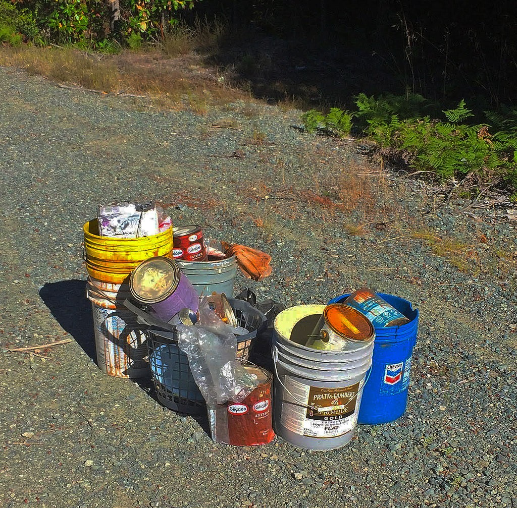 Photograph of household hazardous waste by The Bureau of Land Management. This waste was dumped on public lands (well outside of the Morro Bay watershed). Dumping like this causes problems when containers erode and chemicals leak out.