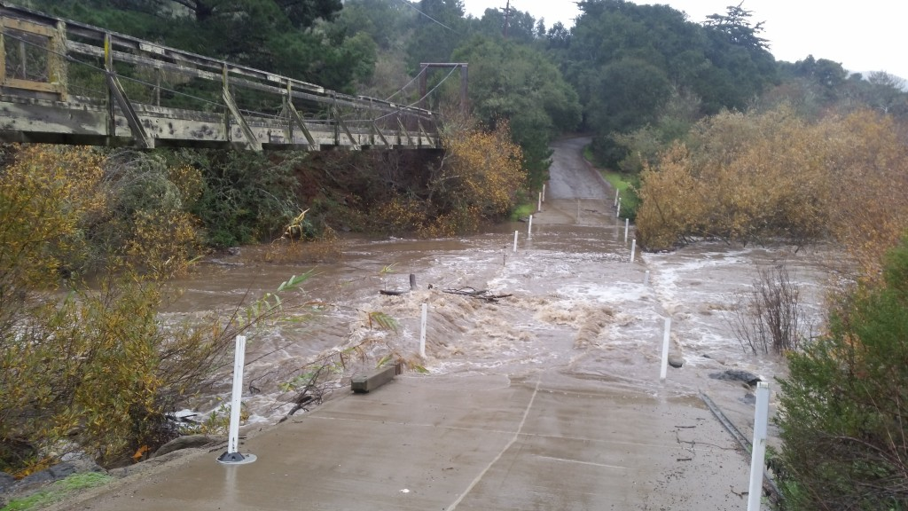 The water in Chorro Creek rose over 9 feet on January 4, overtopping this county bridge.