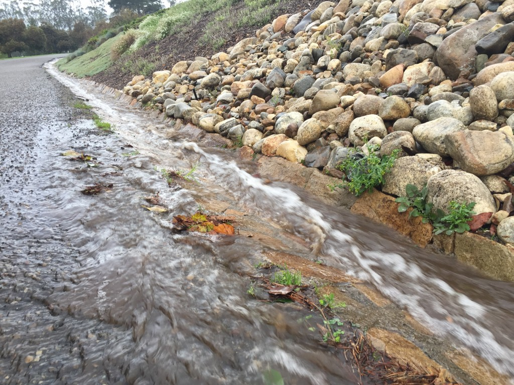 Stormwater gutter runoff upper state park road 1-12-17 3