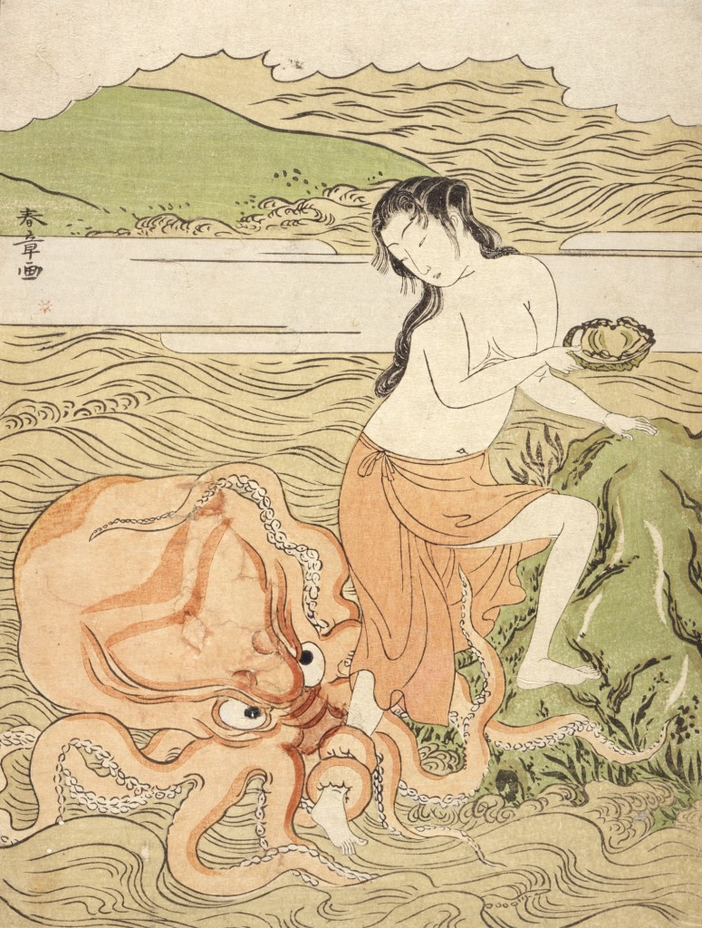 """This woodcut by Japanese artist Katsukawa Shunshō titled """"Abalone Fishergirl with an Octopus"""" was created between 1773 and 1774. (It's now property of the Los Angeles County Museum of Art."""