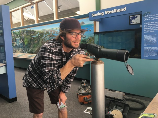Here is Dennis testing out the new scope by zooming in on some harbor seals near the sandspit.
