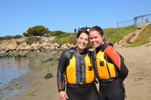 Two SeaLife Stewards volunteers, ready to go out on the water safely.