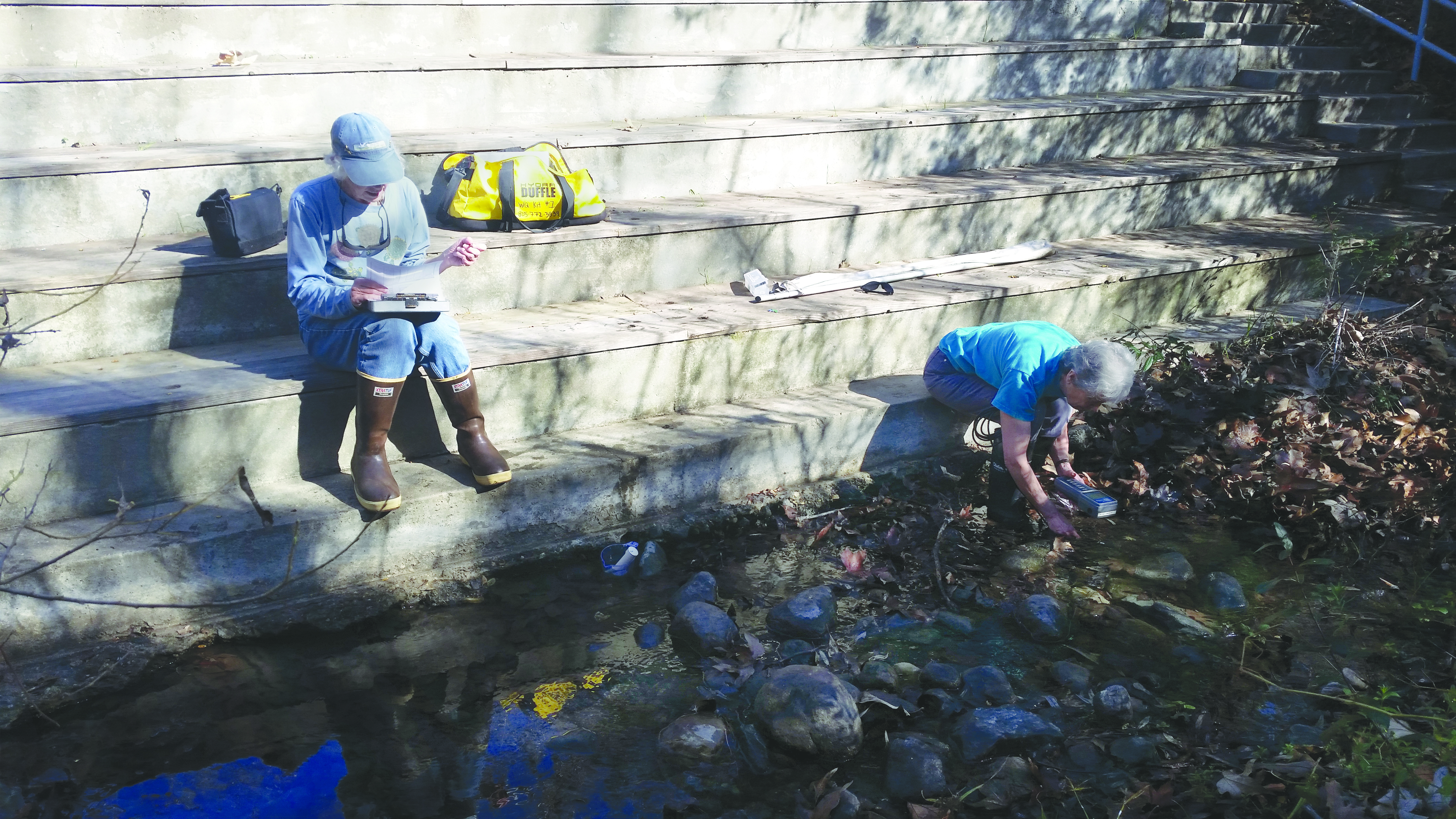 Estuary Program volunteers conduct monthly monitoring on Pennington Creek in the Rancho El Chorro Outdoor School campus. The collected data, like water temperature and oxygen, indicate whether the creek would support sensitive fish like steelhead.