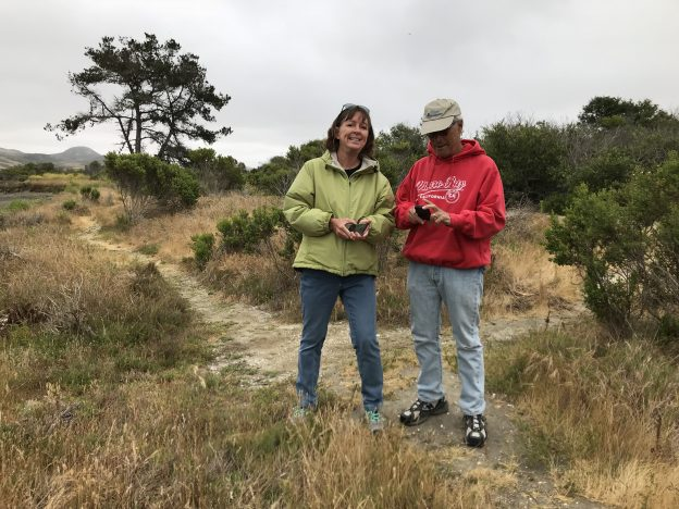 Paula and Tom enter observations into iNaturalist during the Snapshot Cal Coast 2018 effort.