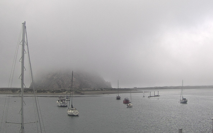 The fog rolled in this afternoon, enveloping all by the base of Morro Rock. This image is from our Baycam, which provides a live view of Morro Bay all day long.