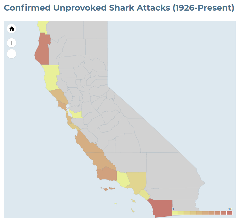 This map, created and published by the International Shark Attack File, shows the number of shark attacks per county in California.