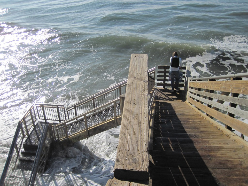 Stairwell in Isla Vista consumed by King Tide