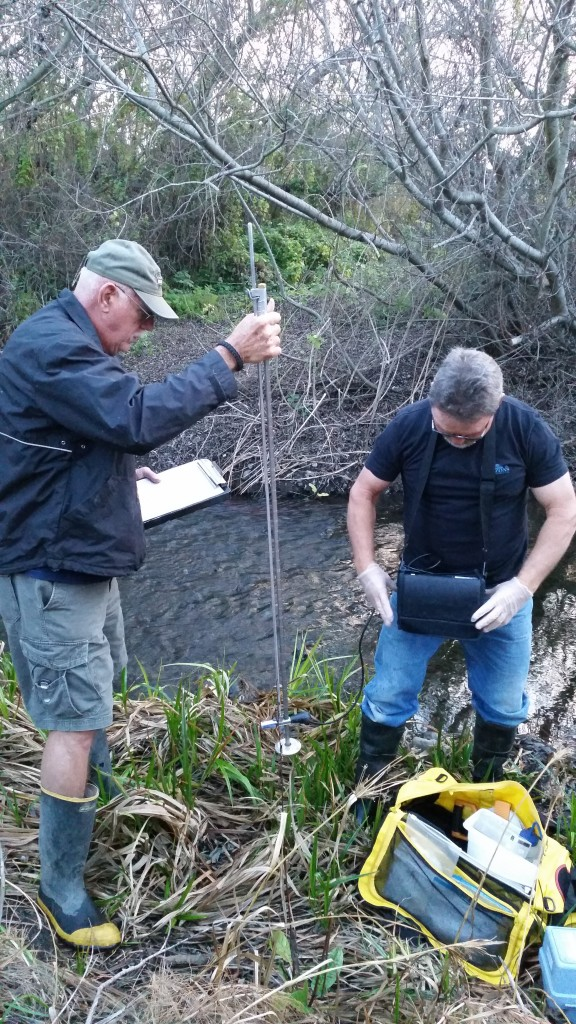 Dennis Kruger (right) and his monitoring partner John Heitzenrater (left) ready their monitoring equipment