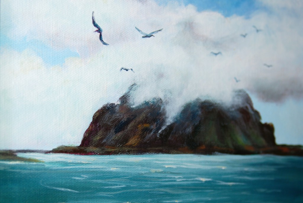 Detail shot of Sylvia Arnold-Hill's painting of Morro Rock