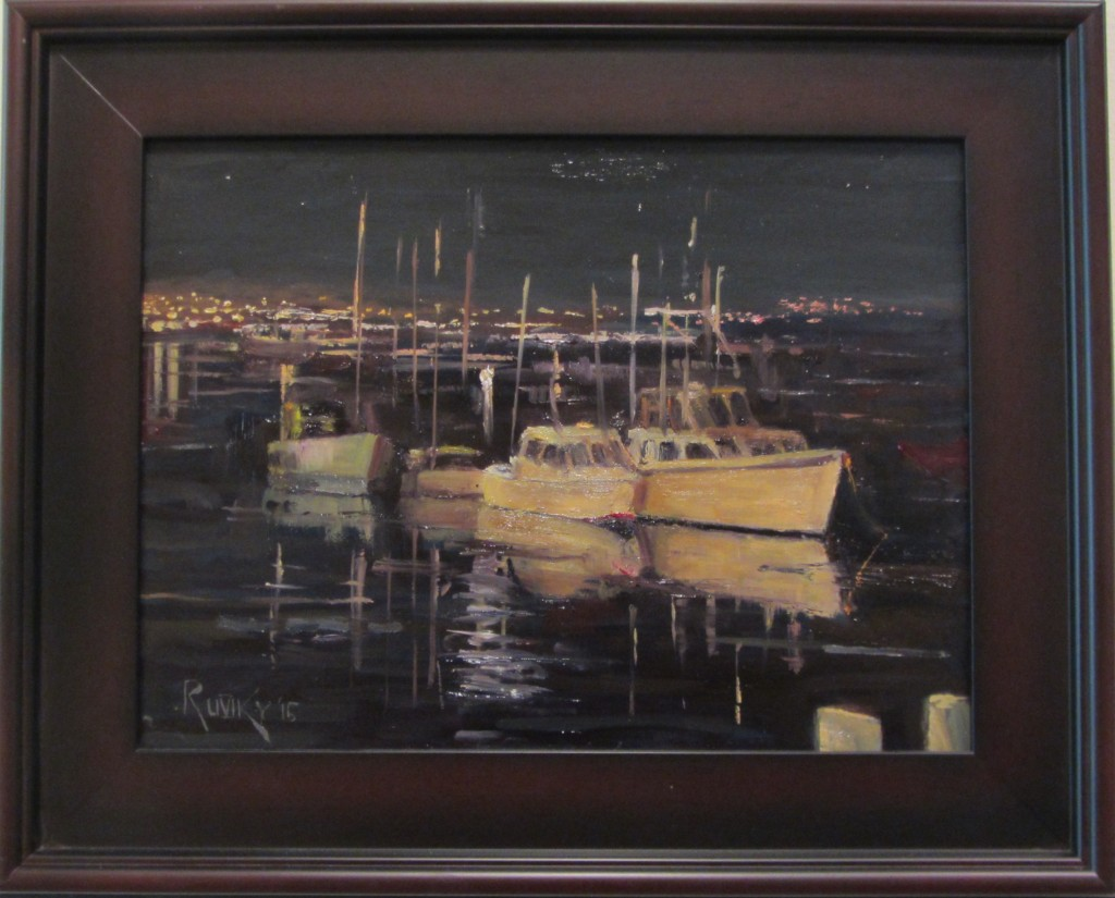 "Mark Ruszczycky's oil painting, ""Morro Bay Nocturne,"" is on display"