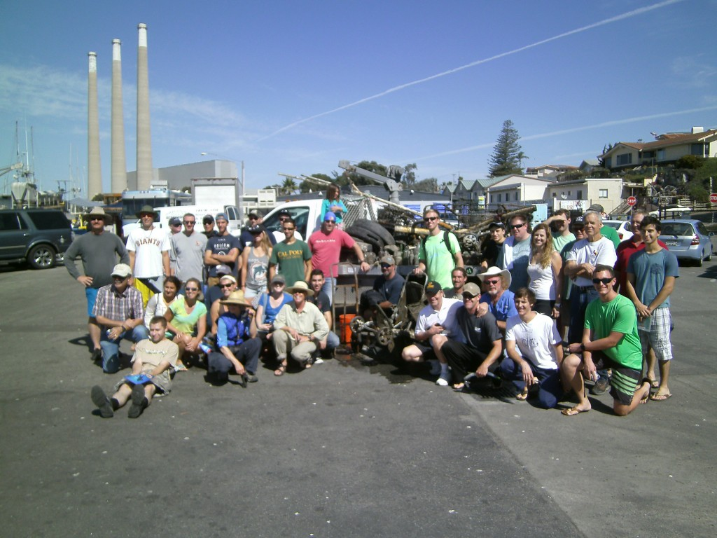 51 volunteers gave a total of 230 hours, and pulled out: 13 tires, 10 sections of pvc pipe, rubber floor mat, 69 glass bottles, 8 cans, 6 burlap sacks, 4 plastic bottles, 1 foam mat, metal sorting table, mop handle, 3 coils of rope, hand truck, grapple hook,  toilet tank, marine toilet, misc. metal pieces, 2 crab nets, 2 electric motors, crock pot, milk crate, 2 swordfish bills, 2 metal pots, fish skull, bumper, 5 sections of rubber dock mol;ding, ladder, garden hose, fishing pole & reel, 2 bricks, dust buster, boot, 3 crab traps, radio, crt screen, other electronic devices, coffee mug, stool, blige pump, rebar, flip flop, baby stroller, knife, ash tray, tape measure, sun glasses, large fish trap and lots of fishing line & hooks.