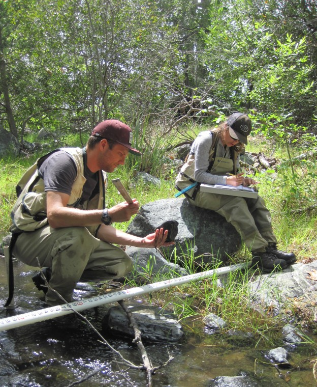 Estuary Program staff complete a habitat assessment during a bioassessment survey in 2015.