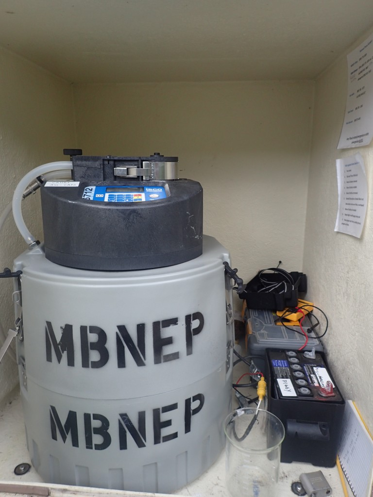 This equipment collects water samples during storms, allowing staff to estimate how much sediment traveled through a specific site at a specific time during a rain event.
