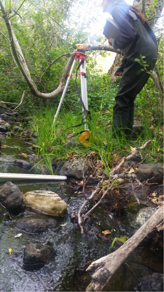Another volunteer helped us measure slope on Pennington Creek