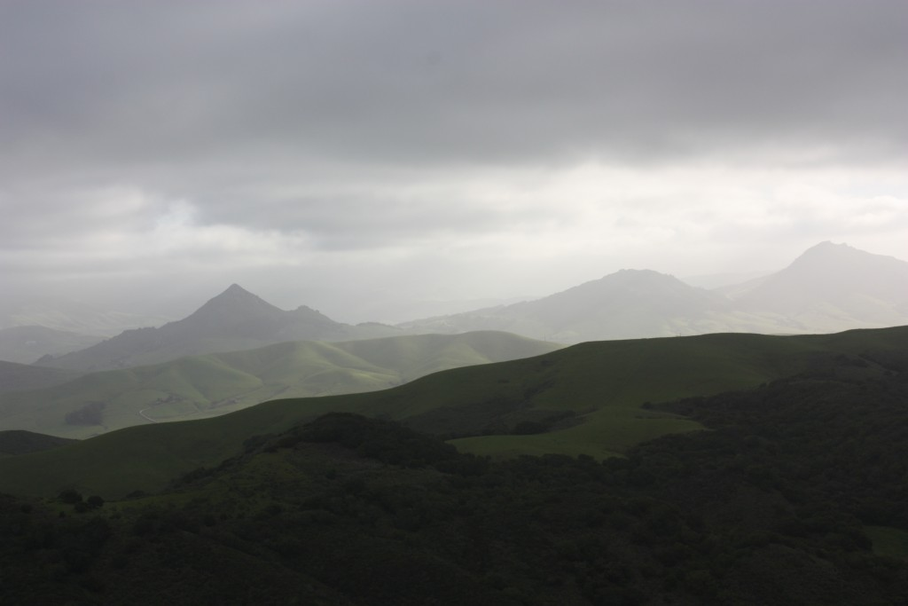 Misty clouds hang over the morros.
