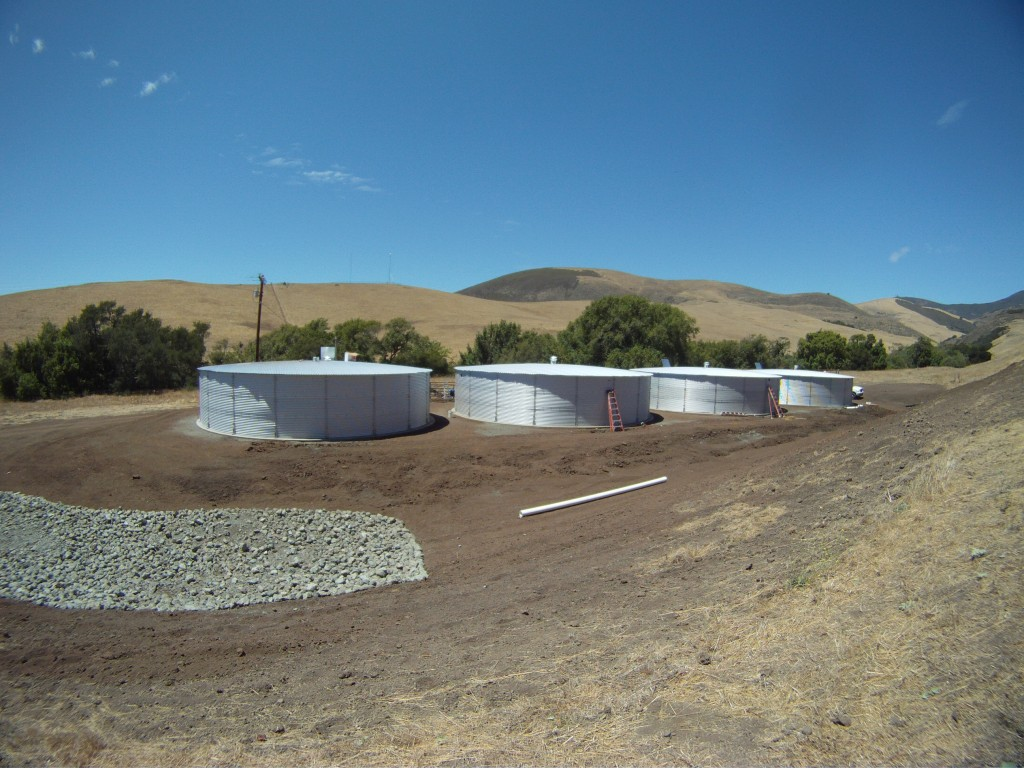 The four water-collection tanks on Cal Poly property can supply water for ranching operations during the summer, so that less water needs to be pumped from wells near Pennington Creek.