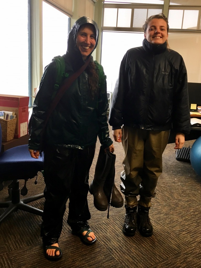 Karissa, our Monitoring Coordinator, and Catie, our Communications & Outreach Intern, just returned from checking on a sediment monitor out in the field. Good thing we have hip waders on hand!