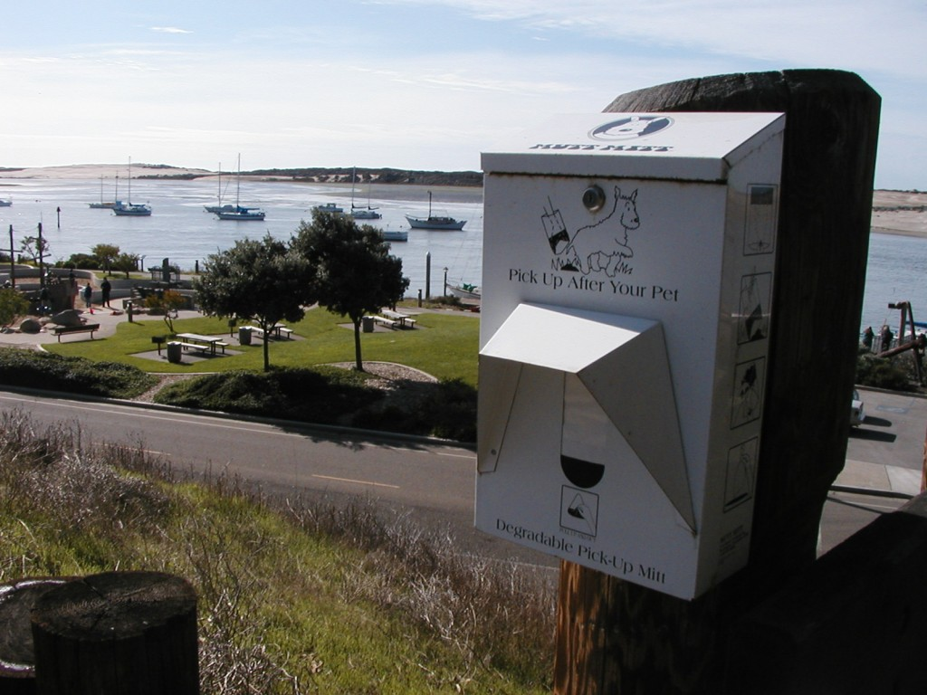 Youll find dog waste bag dispensers like these throughout Morro Bay. They are funded through generous donations from community supporters with help from the City of Morro Bay.