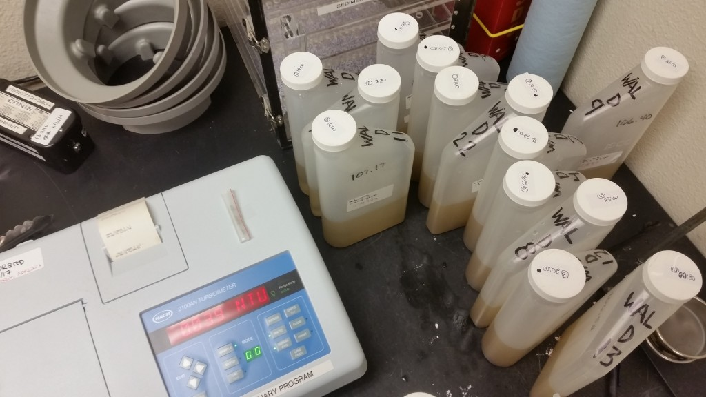 Filled bottles get weighed in, then we measure the turbidity of the bottles.