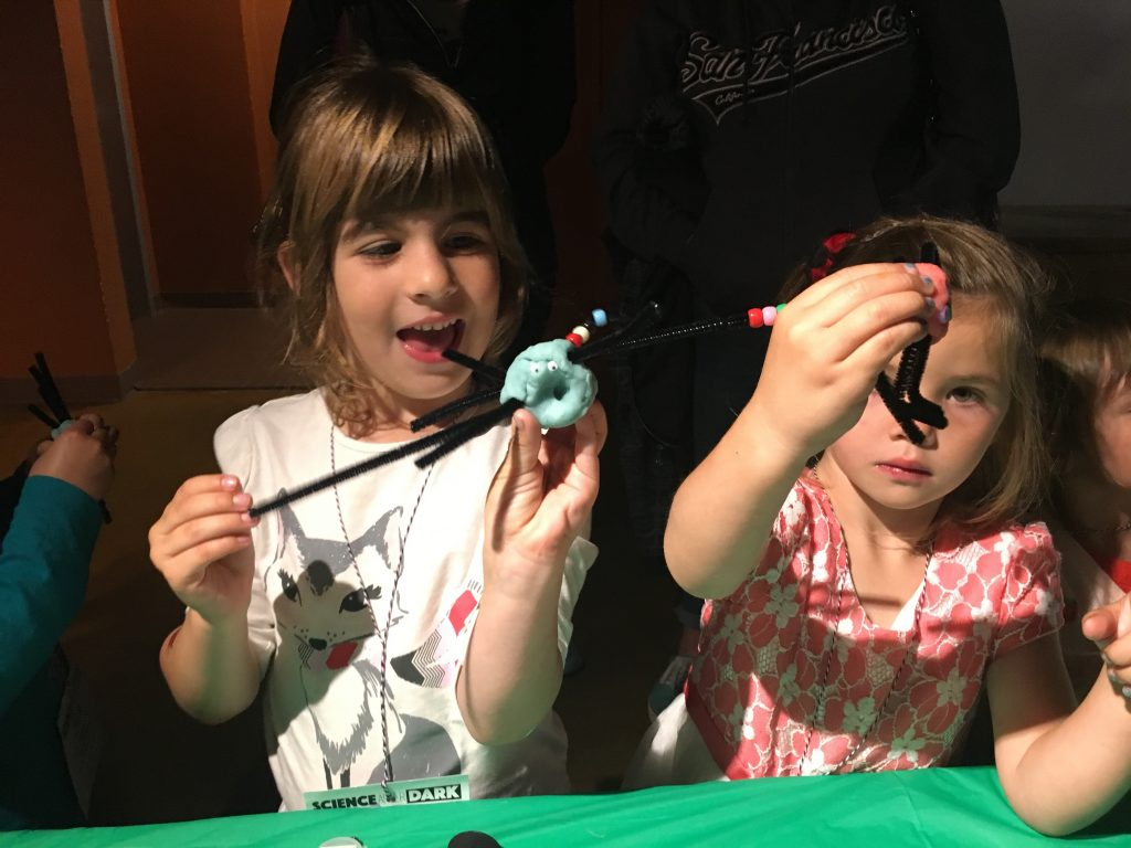 Kids learned about the bugs that live in our local creeks and then made their own at the Estuary Program's booth at this year's Science After Dark event for kids.