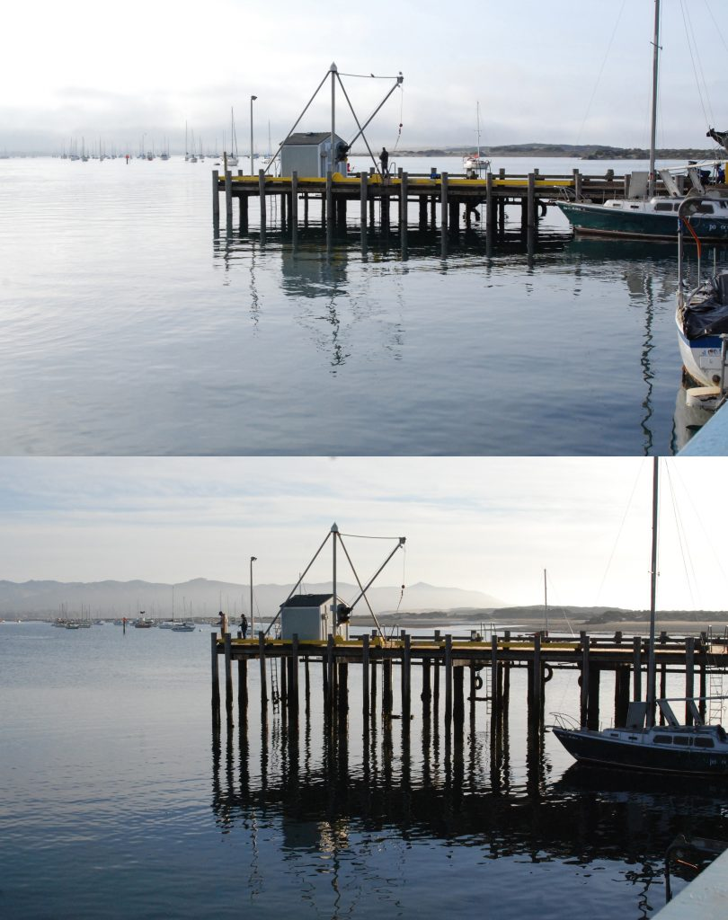 King Tides high and low comparison at the south T-pier in Morro Bay.