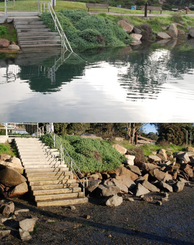 King Tides high and low comparison at the Tidelands staircase in Morro Bay.