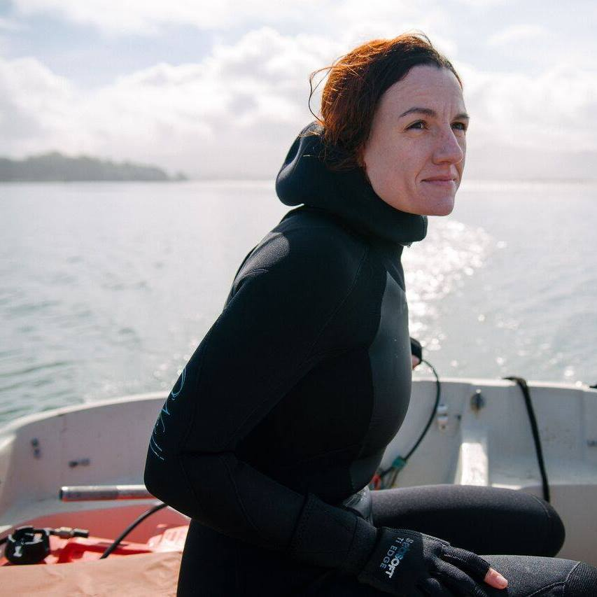 Graduate student Erin Aiello's studies focus is on eelgrass in Morro Bay.