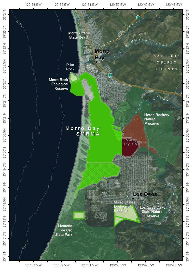 The Morro Bay estuary contains two Marine Protected Areas (MPAs)