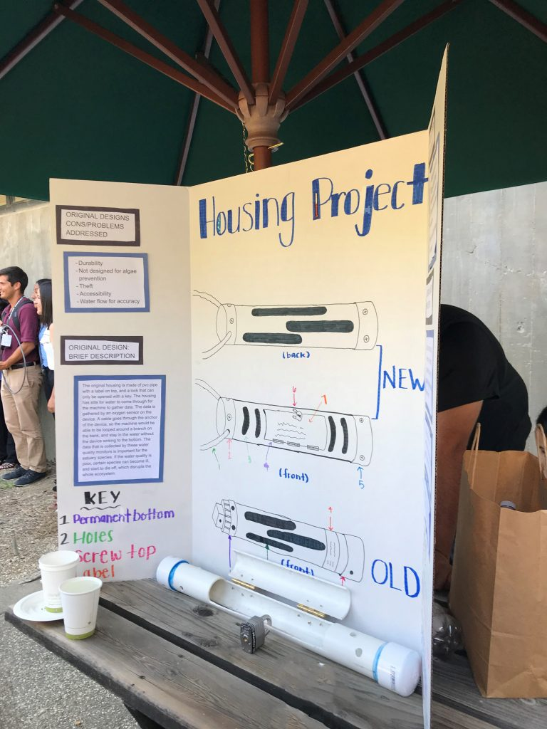 A water quality monitor housing project poster sits on a table during the celebratory reception after the Upward Bound students final presentation.