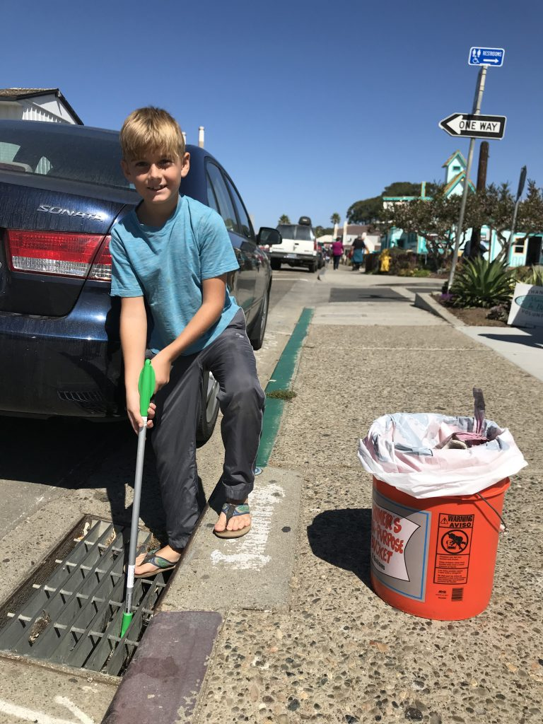 Everett expertly freed cans, bottles, and other trash from this stormdrain. Without his help, they undoubtedly would have ended up in the bay during the first storm of the year. Thanks, Everett!
