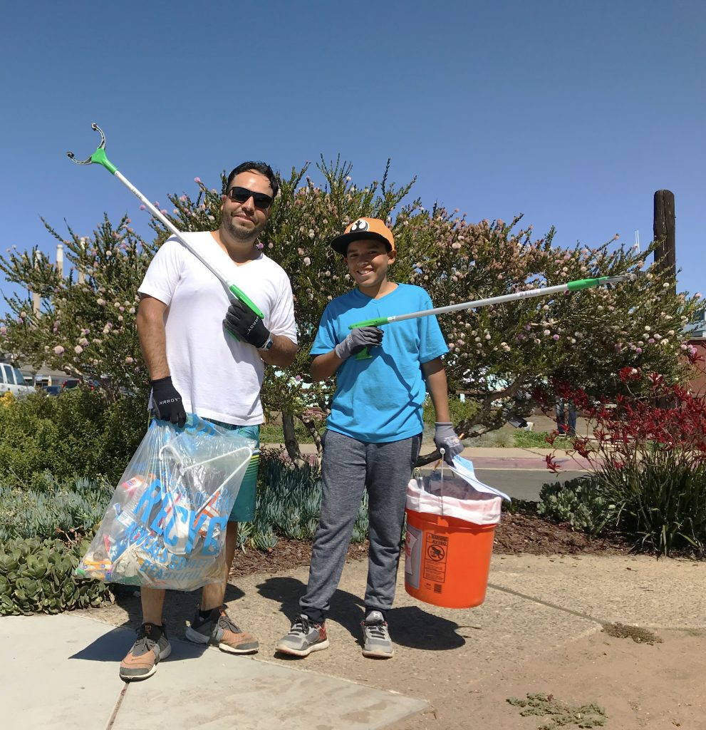 This father and son duo picked up trash for the full three-hours of the cleanup. They worked together to pick up a lot of bottles, cans, and other food-packing waste. Thank you!