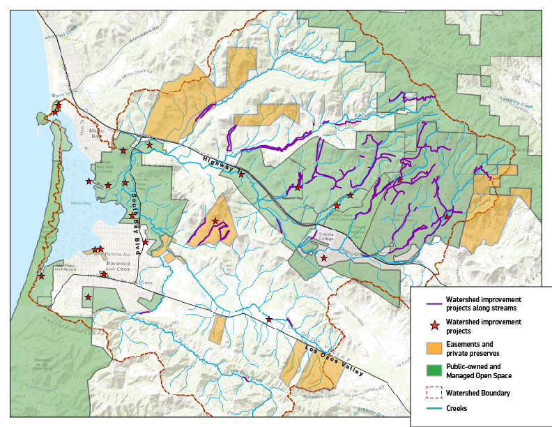 Map of lands protected and conserved in the Morro Bay Estuary Watershed.