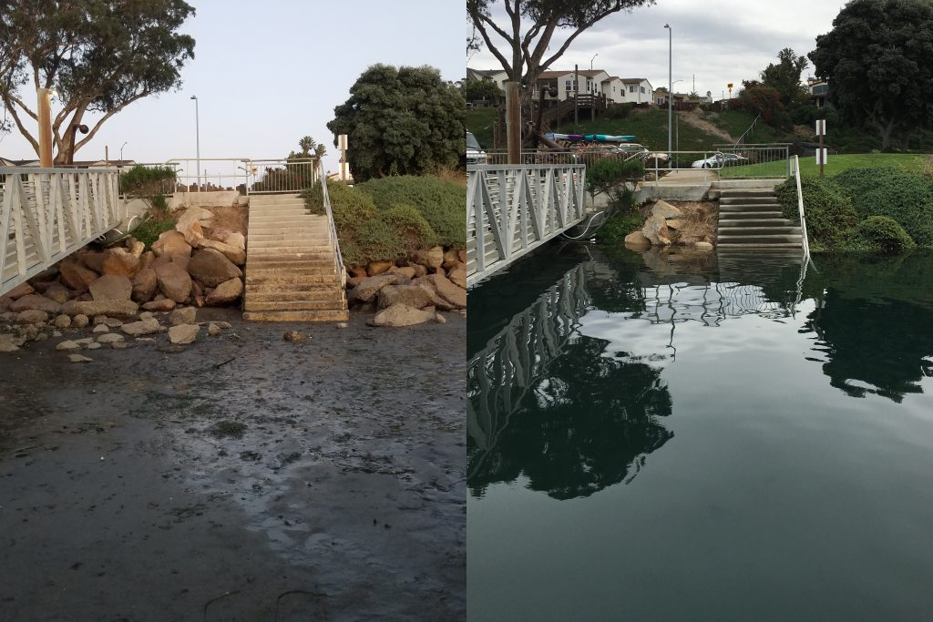 This image shows the stairway to the beach at Tidelands Park. An ultra-low tide is pictured on the left and an ultra-high tide on the right.