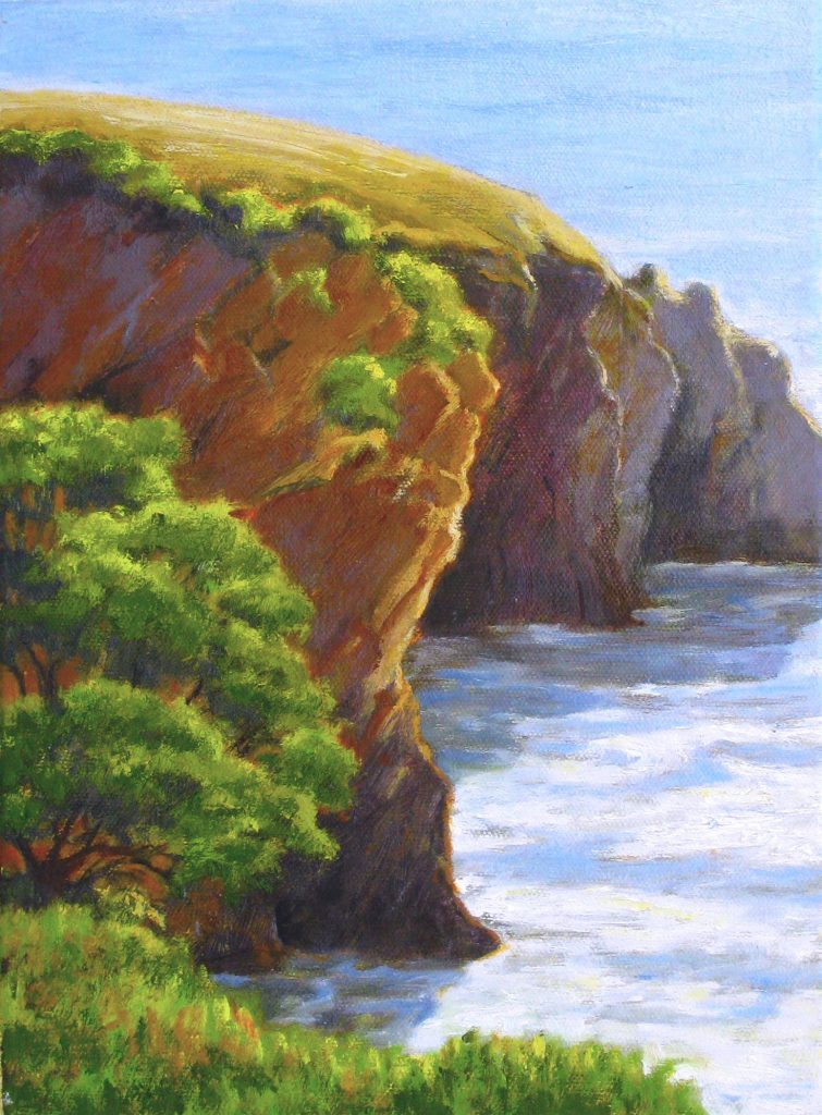 This painting by Dottie Hawthorne, an Emeritus member of S.L.O.P.E., is called Coastal Cliffs Morning. It was painted in Shell Beach.