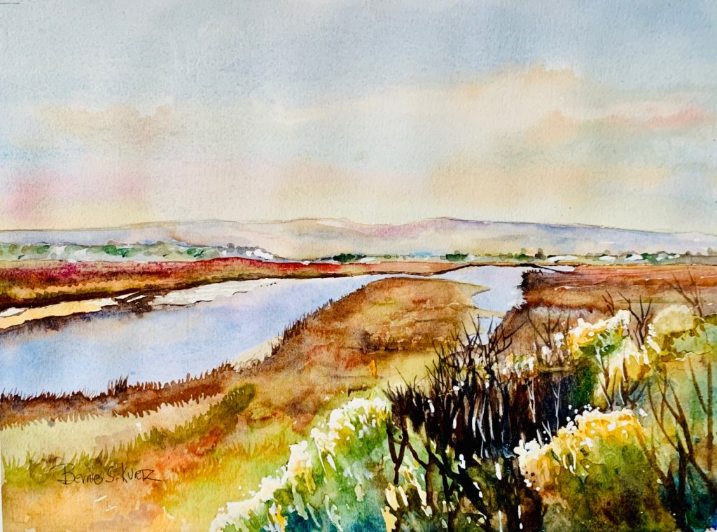 Bernie Kurtz's painting, Morro Bay Estuary, was inspired by the view of the sun reflecting off the water and backlighting the brush. She painted it at the corner of Main St. and South Bay Boulevard in Morro Bay.