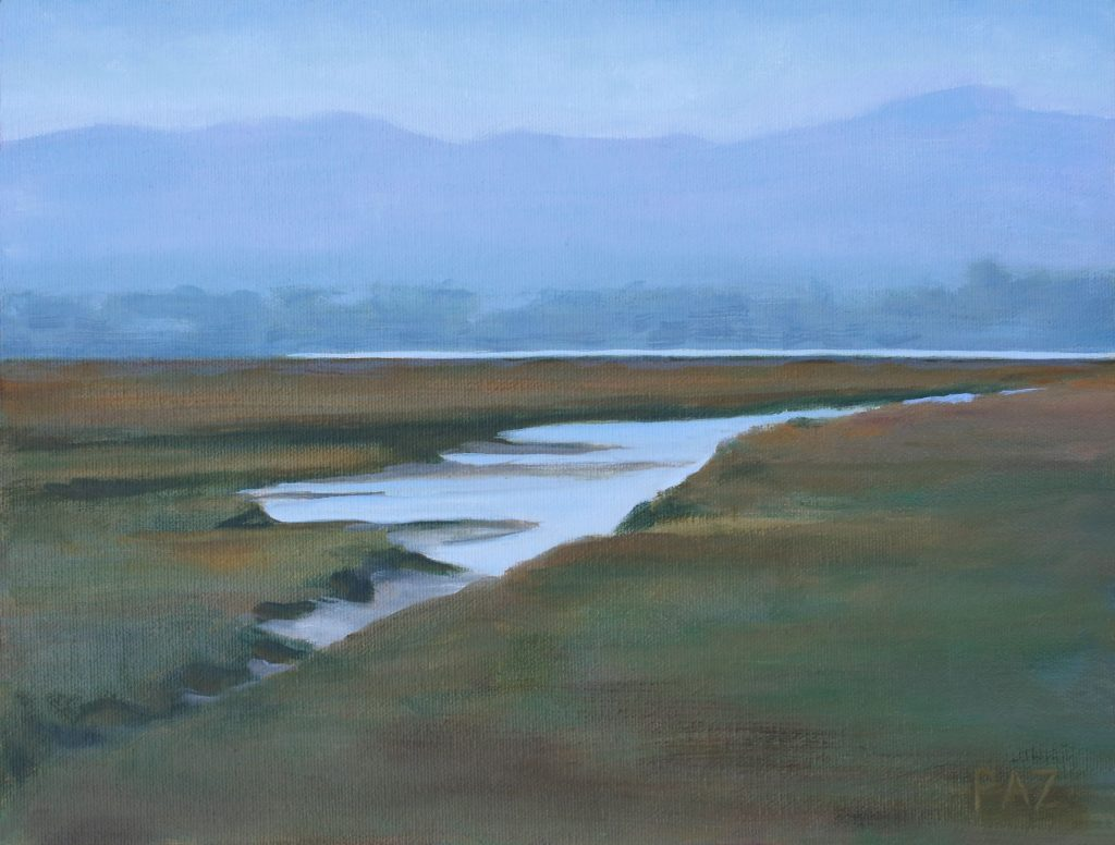 Tracy's Paz's painting, October Estuary, captures the path of an estuary channel through the pickleweed.