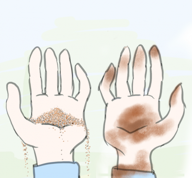 The illustration above shows hands holding sand on the left and clay on the right.