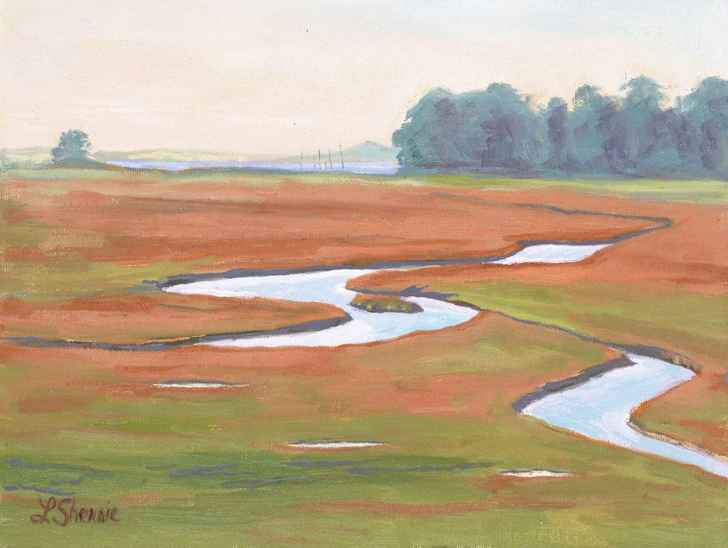 Laurel Sherrie's painting, Estuary Prelude, captures the late afternoon light with high tide and the trees in the distance. She painted it near the Canet Trail in Morro Bay.