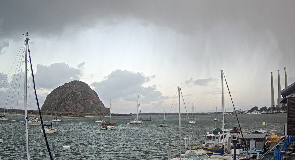 The Baycam watched on as rain moved over the Morro Bay estuary.