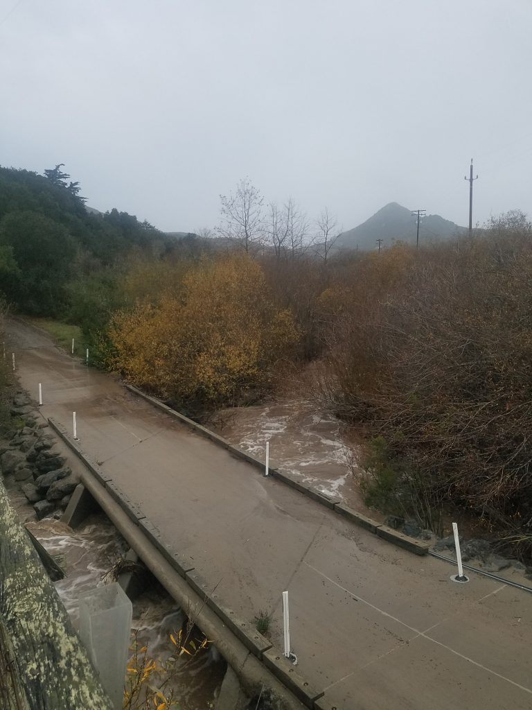 Chorro Creek reached 11.65ft at Canet Road – 0.45ft from crossing the bridge.