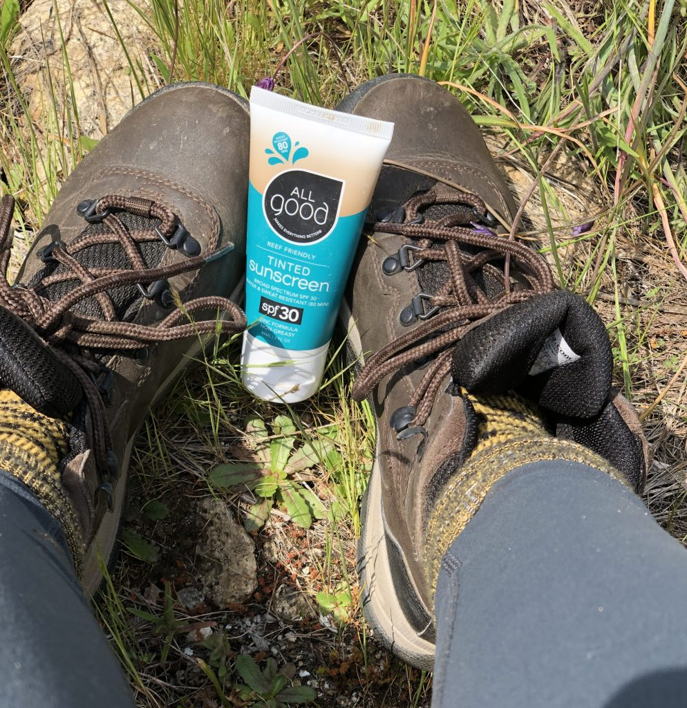 All good sunscreen and hiking boots