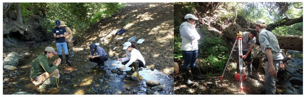 Some of our volunteers at the annual training practice, learning how to analyze stream bed characteristics such as rock size. Volunteers also learned how to set up an autolevel to measure the slope of the stream.
