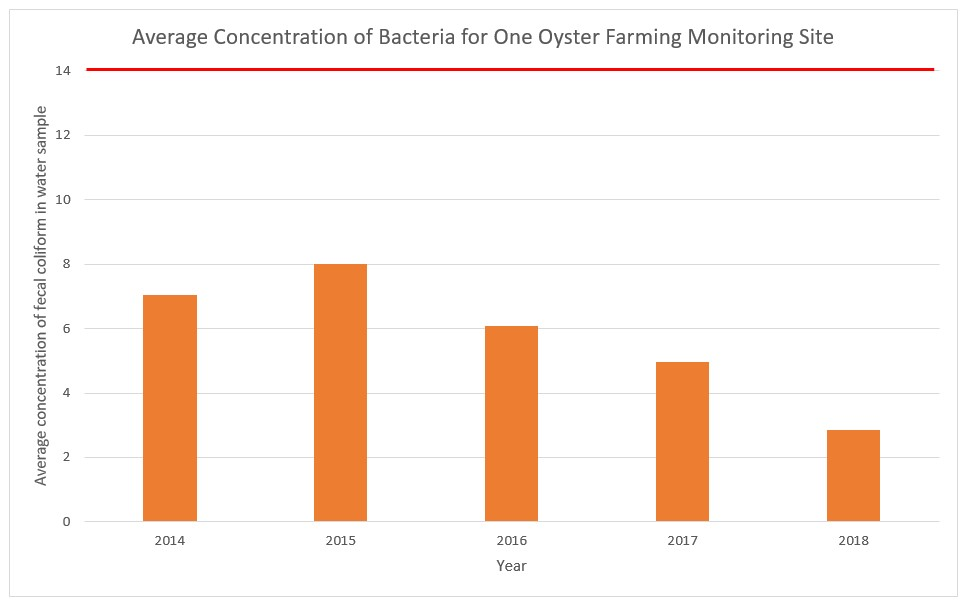 Average Concentration - Bacteria Oyster Farm Monitoring on One Site