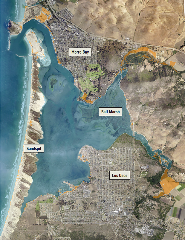 Sea Level Rise map with labels