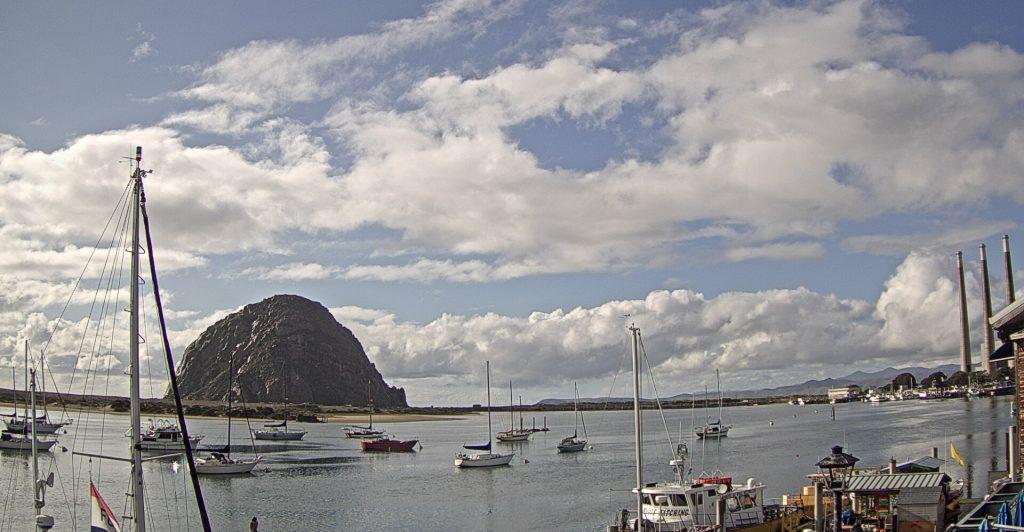 Morro Rock defined, widespread clouds